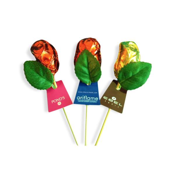 Rosas de chocolate personalizadas. artículos promocionales para san valentín o día de la mujer.