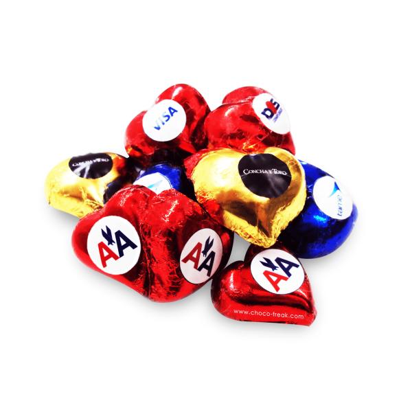 corazones de chocolate personalizados con tu logo. Promocionales originales para San Valentín o Día de la Madre en Quito, Guayaquil, Cuenca y Ecuador.
