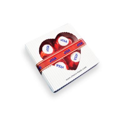 Caja con Corazones de Chocolate - Regalos Corporativos.