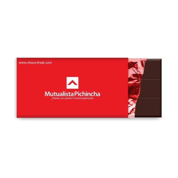 Barra de chocolate de 14cm x 7cm personalizada con tu logotipo a full color. Un producto promocional único.