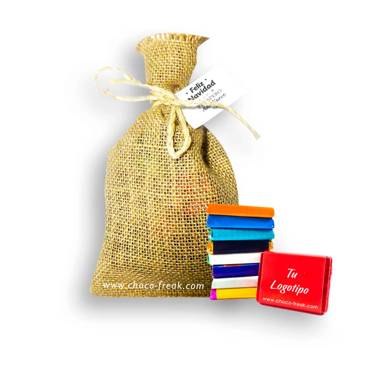 regalos empresariales quito guayaquil gift bag de yute con chocolates personalizados