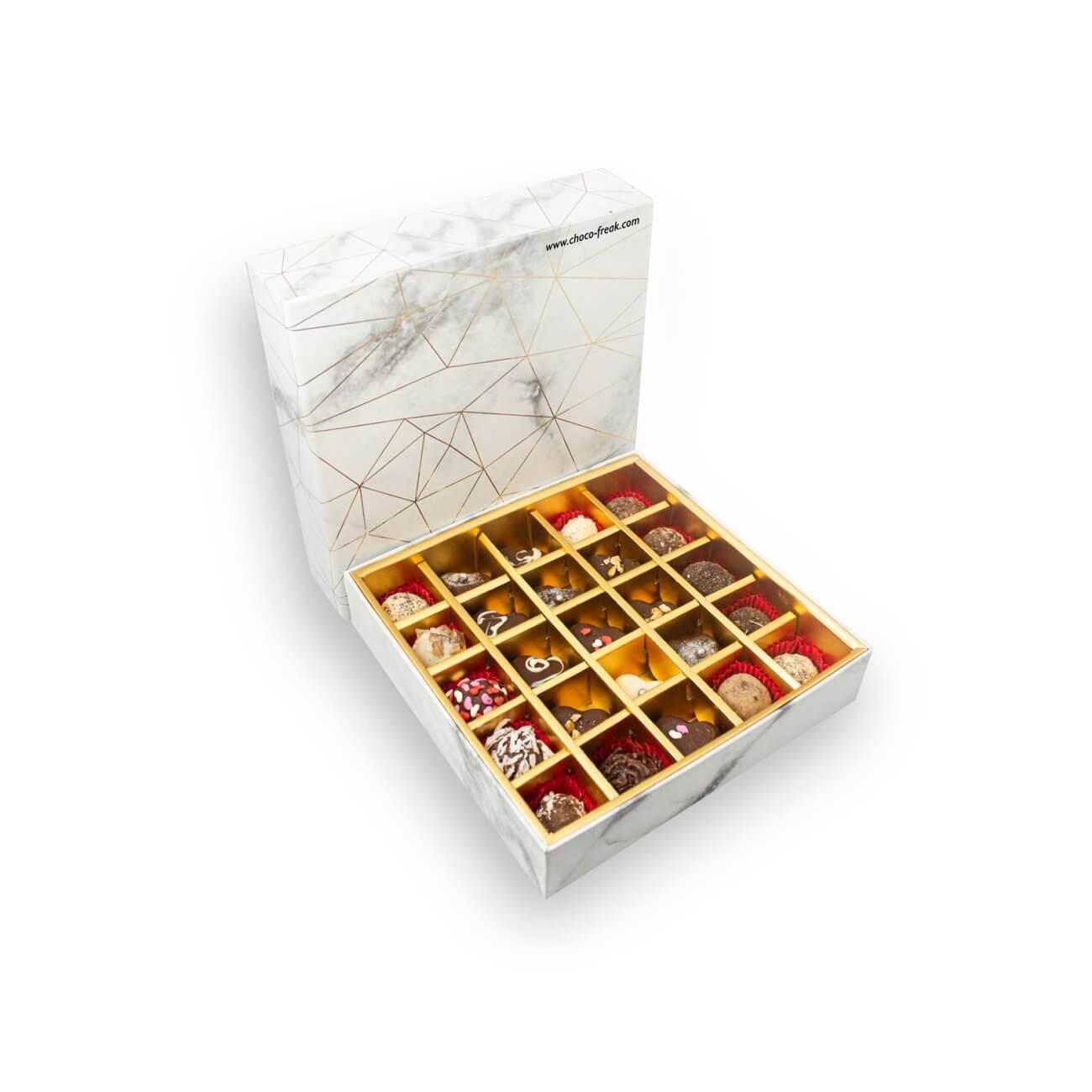 Regalos por el día de la mujer en Quito Guayaquil Ecuador. Caja de regalo con 25 trufas de chocolate gourmet