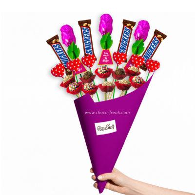 Bouquet con rosas, trufas y chocolates finos. Chocolates con envío a domicilio en Quito, Guayaquil y todo el Ecuador.