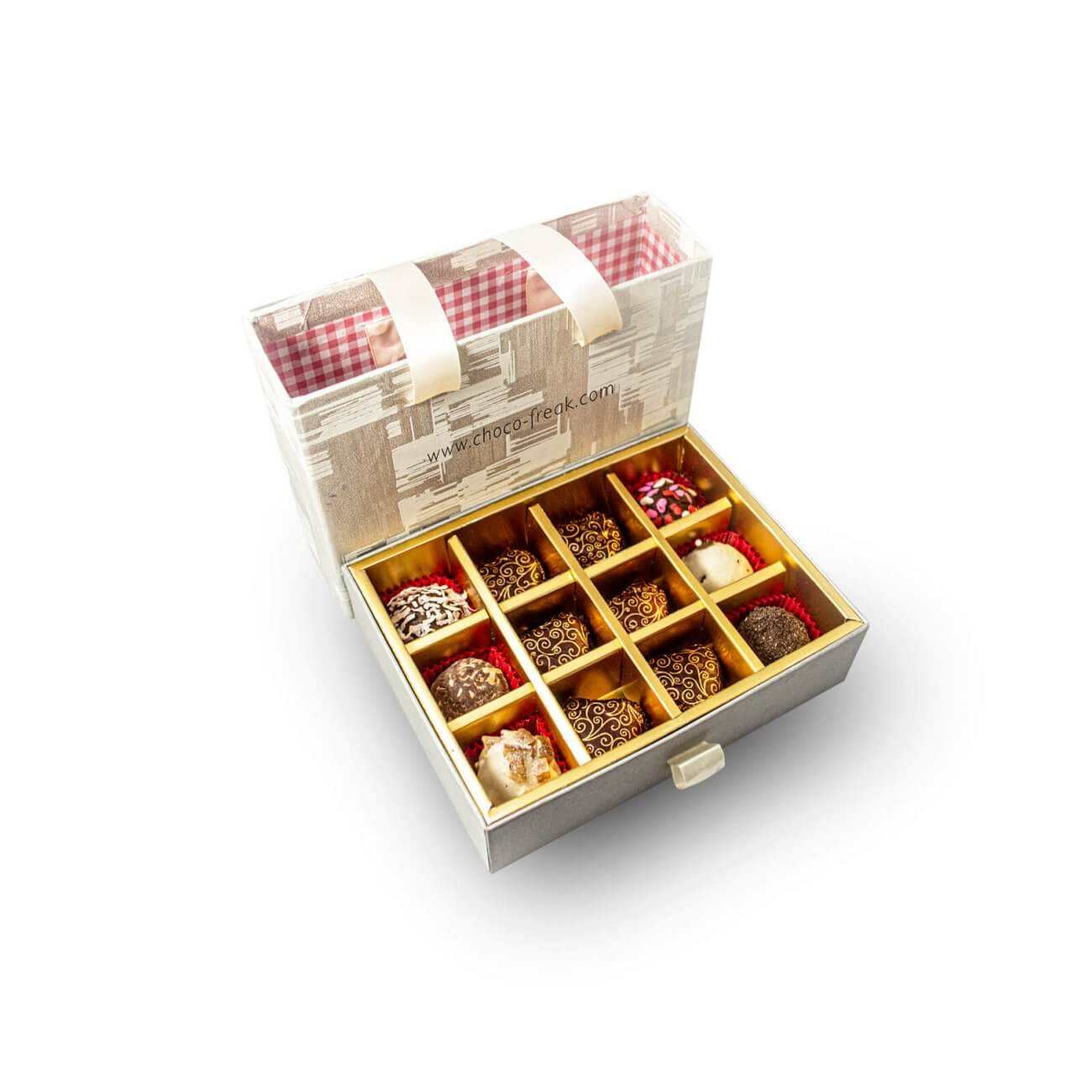 Mix de trufas de chocolate y bombones en cajita de carton duro reutilizable. Regalos a domicilio Quito Guayaquil Ecuador