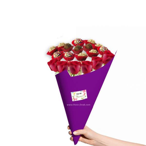 Bouquet de rosas y trufas de chocolate con motivo del Día de la Madre.