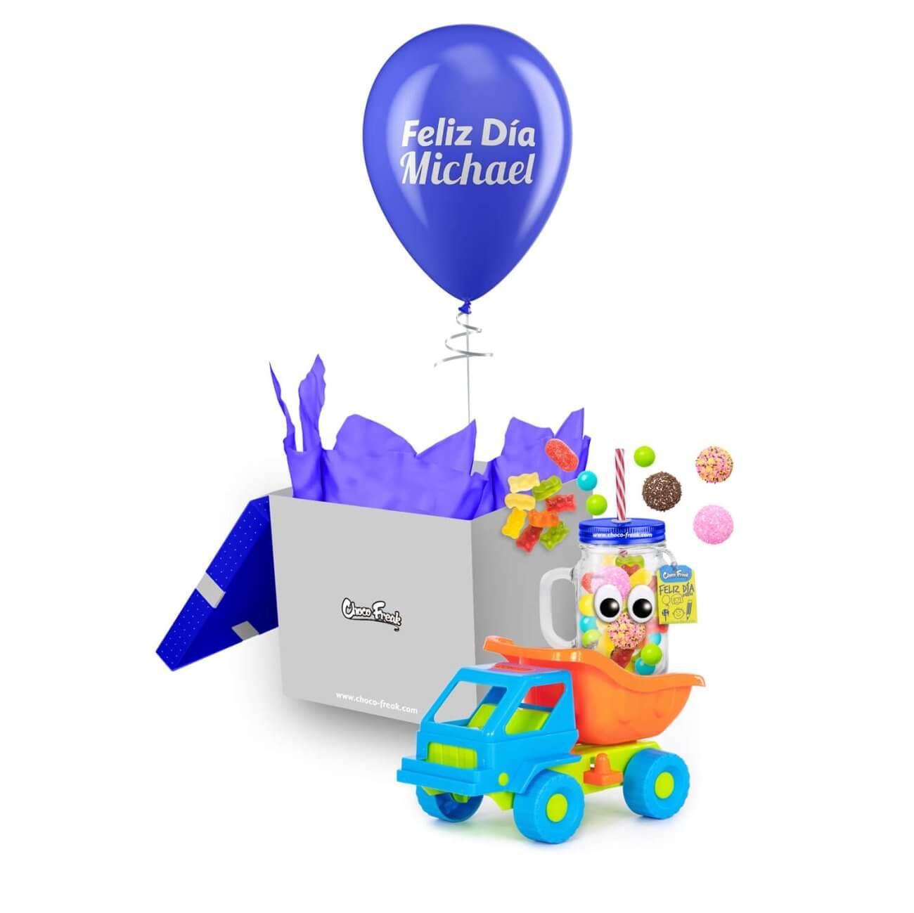 Regalo personalizado para niño, carro de juguete con Jarro Mason jar Quito Guayaquil Ecuador