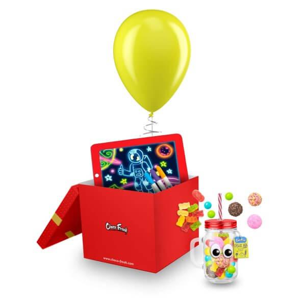 Regalos a domicilio para niños. Juguete con Jarro Mason jar y dulces Quito Guayaquil Ecuador