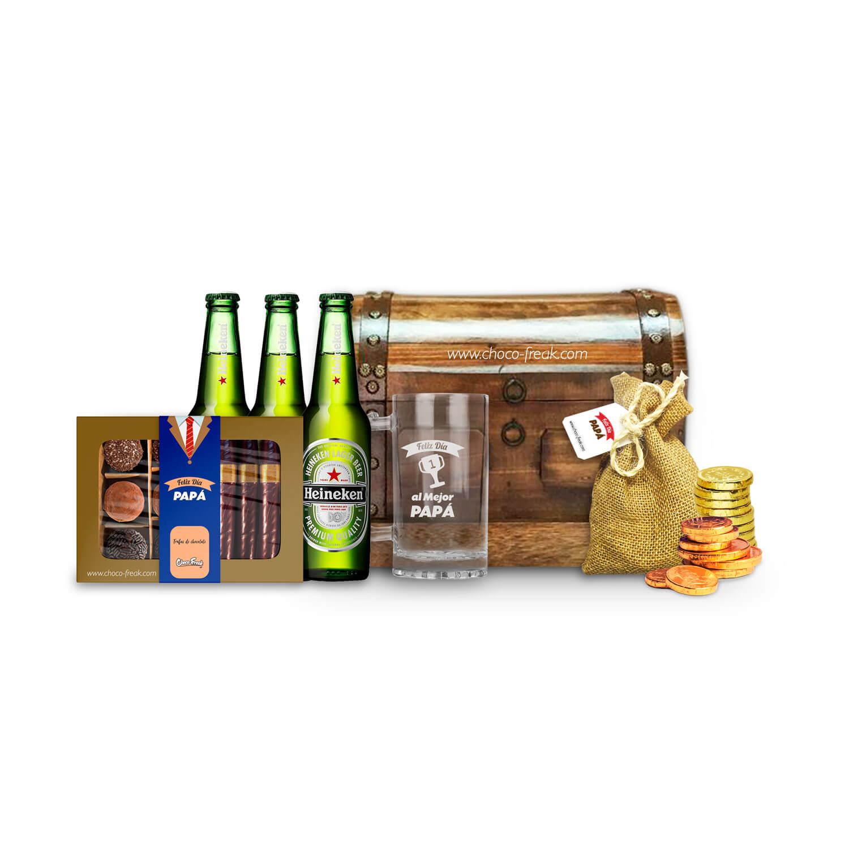 Baúl de madera con cervezas y chocolates gourmet. Regalos para Papá Quito Guayaquil Ecuador.