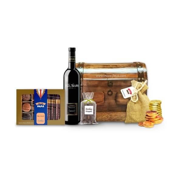 Regalos para Papá Quito Guayaquil Ecuador. Baúl de madera con vino y chocolates gourmet.